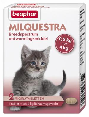 Milquestra wormtabletten kitten 2 tabl