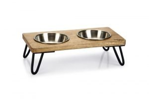 Designed by Lotte dinerset Linga - Kat - Hout/metaal - incl. 2 bakjes