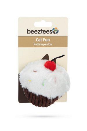 Beeztees Cupcake - Kattenspeelgoed - Wit/Bruin - 9x7x7 cm